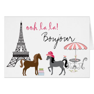 The Pretty Ponies Paris Horse Greeting Card