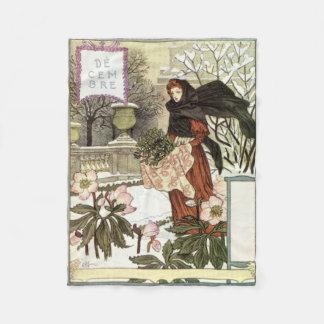 The pretty woman gardener classic French Swiss art Fleece Blanket