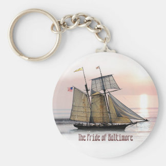 The Pride of Baltimore Basic Round Button Key Ring