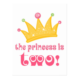 The Princess Is Two 2nd Birthday Gift Postcard
