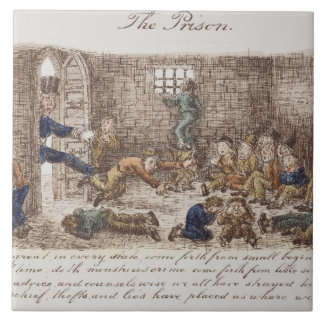 The Prison, 1858 (coloured engraving) Large Square Tile