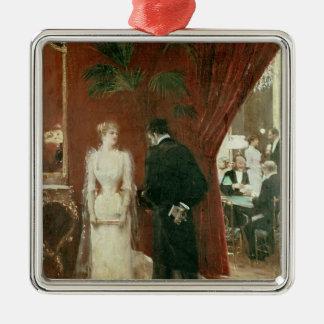 The Private Conversation, 1904 Silver-Colored Square Decoration