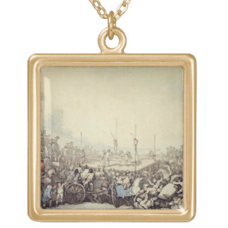 The Prize Fight, 1787 (pen, ink and w/c over graph Gold Plated Necklace
