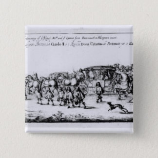 The Procession of Charles II 15 Cm Square Badge