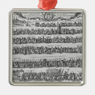 The Procession of Pope Innocent XII Silver-Colored Square Decoration
