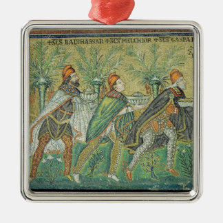 The procession of the three kings Silver-Colored square decoration