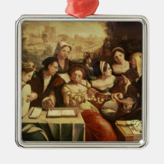 The Prodigal Son Feasting with Harlots Silver-Colored Square Decoration