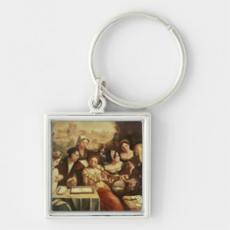 The Prodigal Son Feasting with Harlots Silver-Colored Square Key Ring