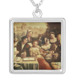 The Prodigal Son Feasting with Harlots Square Pendant Necklace