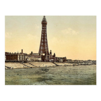 The Promenade and Tower from North Pier Blackpool Postcard
