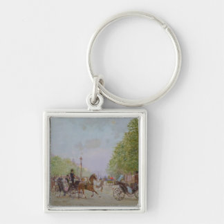The Promenade on the Champs-Elysees Silver-Colored Square Key Ring