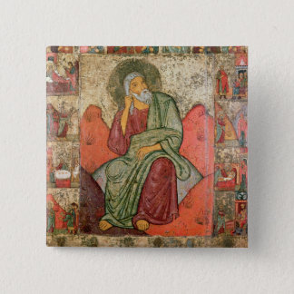The Prophet Elijah, Pskov School (panel) 15 Cm Square Badge