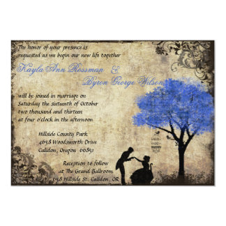 The Proposal Vintage Wedding Invitation Dark Blue