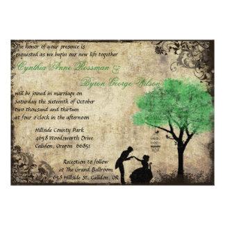 The Proposal Vintage Wedding Invitation Green