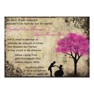 The Proposal Vintage Wedding Invitation Hot Pink