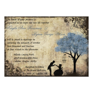 The Proposal Vintage Wedding Invitation in Blue
