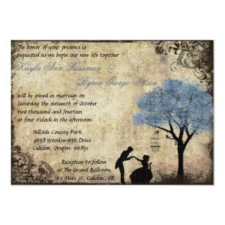 "The Proposal Vintage Wedding Invitation in Blue 5"" X 7"" Invitation Card"