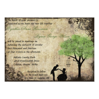 The Proposal Vintage Wedding Invitation in Green