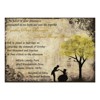 The Proposal Vintage Wedding Invitation in Yellow