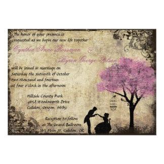 The Proposal Vintage Wedding Invitation Pink