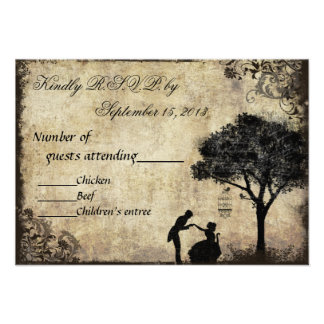 The Proposal Vintage Wedding RSVP Black Personalized Invite