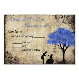 The Proposal Vintage Wedding RSVP Dark Blue 9 Cm X 13 Cm Invitation Card
