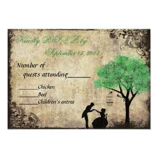 The Proposal Vintage Wedding RSVP Green Personalized Invitations