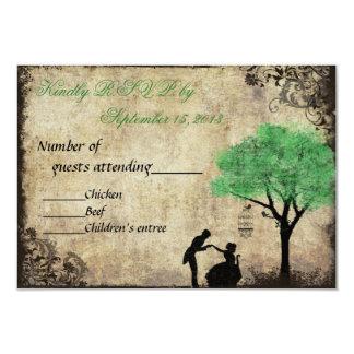 The Proposal Vintage Wedding RSVP Green 3.5x5 Paper Invitation Card