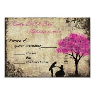 The Proposal Vintage Wedding RSVP Hot Pink 3.5x5 Paper Invitation Card