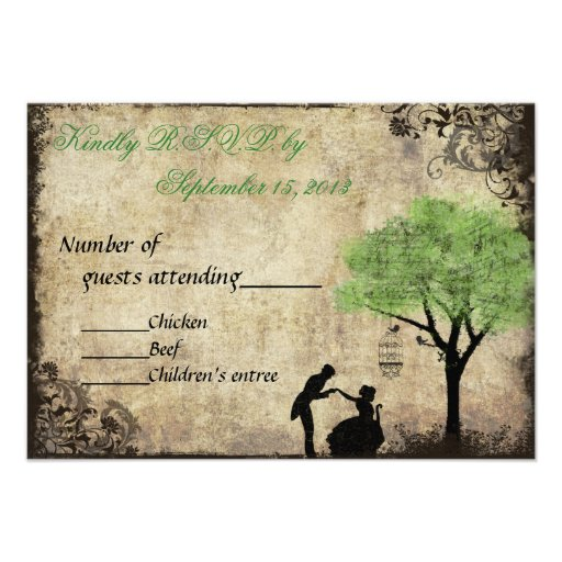 The Proposal Vintage Wedding RSVP in Green Announcements