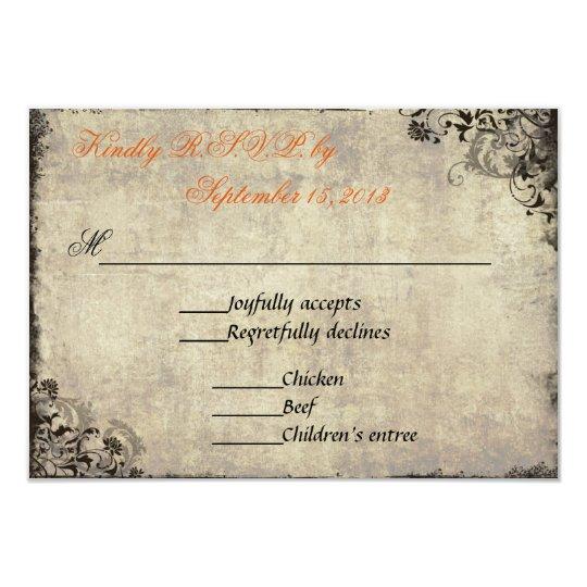 The Proposal Vintage Wedding RSVP in Orange Card