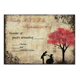 The Proposal Vintage Wedding RSVP in Red 3.5x5 Paper Invitation Card