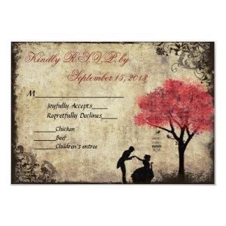 The Proposal Vintage Wedding RSVP in Red 9 Cm X 13 Cm Invitation Card