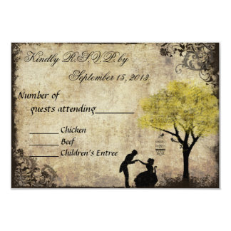 The Proposal Vintage Wedding RSVP in Yellow 3.5x5 Paper Invitation Card