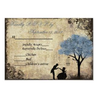 The Proposal Vintage Wedding RSVP Light Blue 9 Cm X 13 Cm Invitation Card