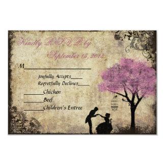 The Proposal Vintage Wedding RSVP Pink 9 Cm X 13 Cm Invitation Card