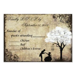 The Proposal Vintage Wedding RSVP White 3.5x5 Paper Invitation Card