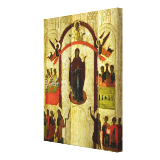 The Protection of the Theotokos  Russian icon Canvas Print