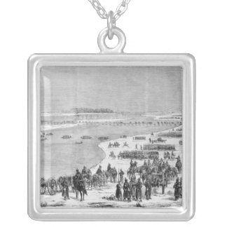 The Prussian army crossing the Shlei at Arnis Silver Plated Necklace