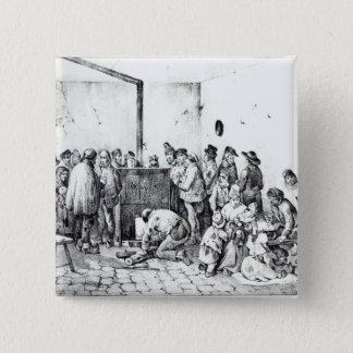The Public Warming Room in Paris, 1840 15 Cm Square Badge