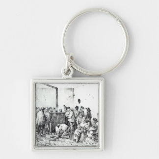 The Public Warming Room in Paris, 1840 Key Ring
