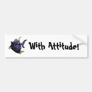 """""""The Puffer"""" Fish With Attitude Bumper Sticker"""