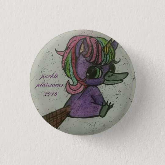 the purkle platicorns team mascot button