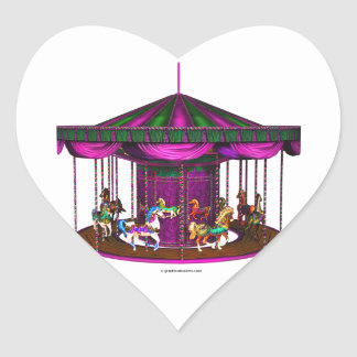 The Purple Carousel Heart-Shaped Stickers