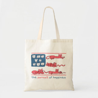 The Purrsuit of Happiness tote bag (var. styles)