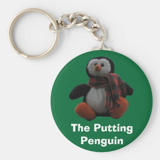 The Putting Penguin Basic Round Button Key Ring