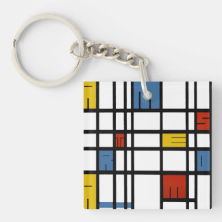 The puzzle of Amsterdam (Mondrian style) Key Ring