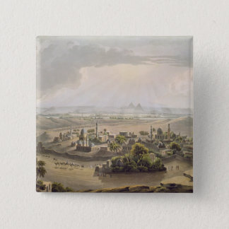 The Pyramids at Cairo, engraved by Daniel Havell ( 15 Cm Square Badge