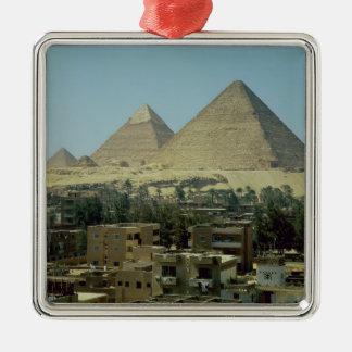 The Pyramids of Giza, c.2589-30 BC, Old Kingdom Silver-Colored Square Decoration