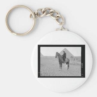 The Pyramids of Giza with Horseman circa 1934 Basic Round Button Key Ring